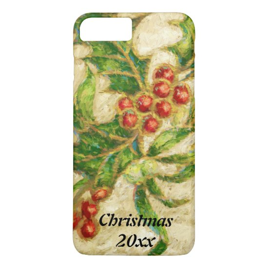 Traditional Christmas Holly with Berries iPhone 7 Plus Case