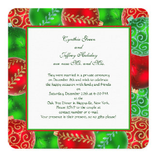 Traditional Christmas Newlywed Reception Card