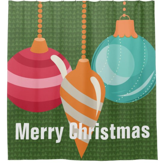 Traditional Christmas Ornaments Shower Curtain