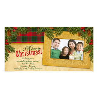 Traditional Christmas Plaid Family Photo Holiday Photo Card