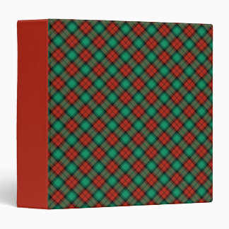 Traditional Christmas Plaid Pattern 3 Ring Binder