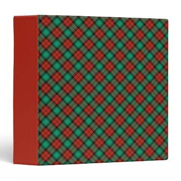 Christmas Themed Traditional Christmas Plaid Pattern 3 Ring Binder