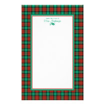 Traditional Christmas Plaid Personalized Stationery