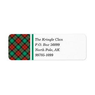 Traditional Christmas Plaid Return Address Labels