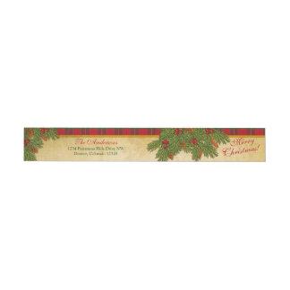 Traditional Christmas Plaid Xmas Return Address Wrap Around Label