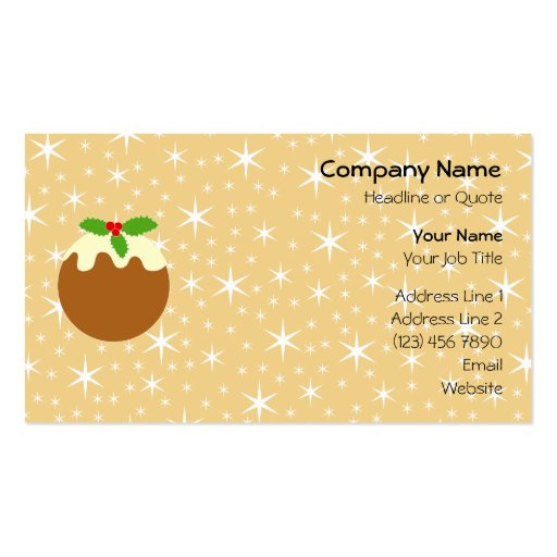 Traditional Christmas Pudding. Double-Sided Standard Business Cards (Pack Of 100)