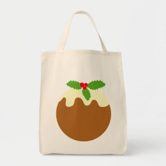 Traditional Christmas Pudding. On White. Canvas Bags