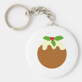 Traditional Christmas Pudding. On White. Key Chain