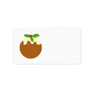 Traditional Christmas Pudding. On White. Label