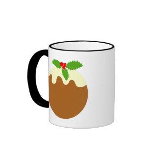 Traditional Christmas Pudding. On White. Ringer Coffee Mug
