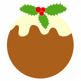 Traditional Christmas Pudding. On White. Cut Outs