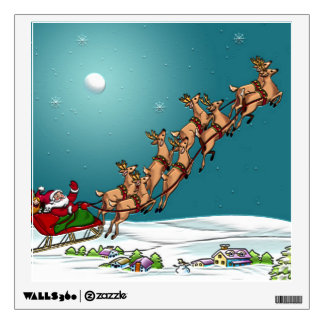 Traditional Christmas Santa and Reindeer Room Graphics