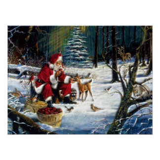 Traditional Christmas Santa in the Park Poster