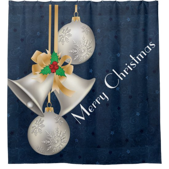 Traditional Christmas Silver Bells Shower Curtain