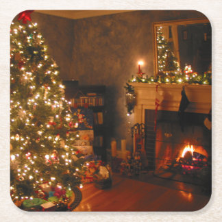 Traditional Christmas Square Paper Coaster