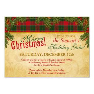 "Traditional Christmas Tartan Plaid Holiday Party 5"" X 7"" Invitation Card"