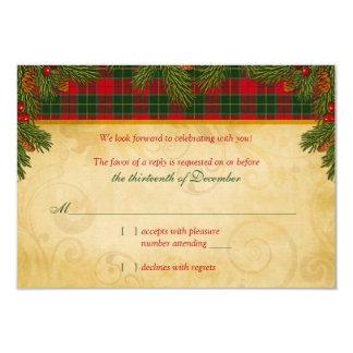 Traditional Christmas Tartan Plaid Wedding Rsvp Custom Invite