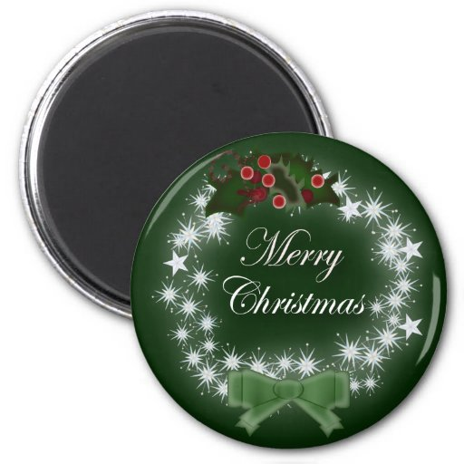 Traditional Christmas Wreath and mistletoe 2 Inch Round Magnet