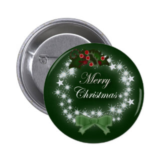 Traditional Christmas Wreath and mistletoe Pinback Button