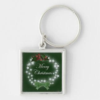Traditional Christmas Wreath and mistletoe Key Chain