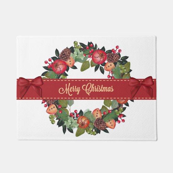 Traditional Christmas Wreath Doormat