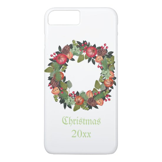 Traditional Christmas Wreath, Holiday Design iPhone 7 Plus Case