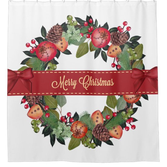Traditional Christmas Wreath Shower Curtain