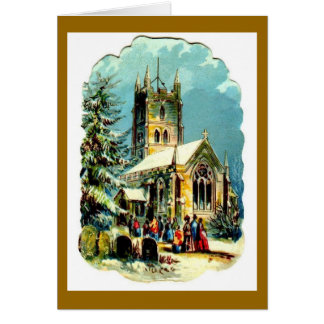 Traditional Church Scene Christmas Card