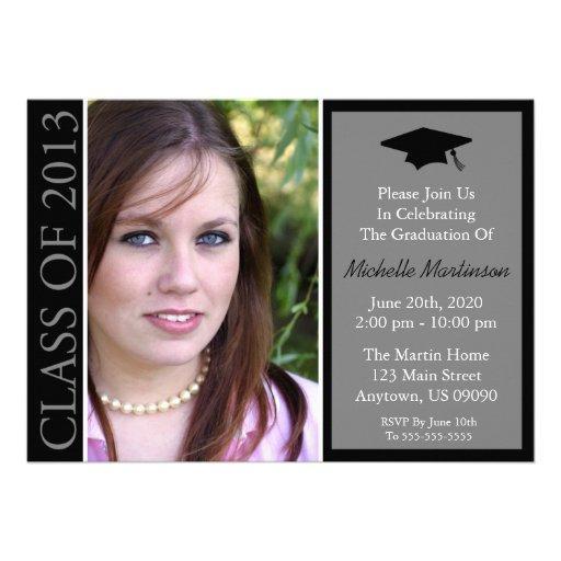 Traditional Class Of 2013 Graduation (Black) Custom Invitations