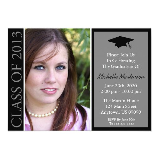 "Traditional Class Of 2013 Graduation (Black) 5"" X 7"" Invitation Card"