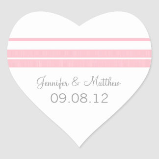 Traditional Classic Stripes Heart Wedding Stickers