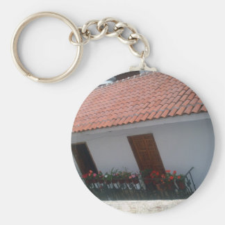 Traditional colonial roof in Taxco Basic Round Button Keychain