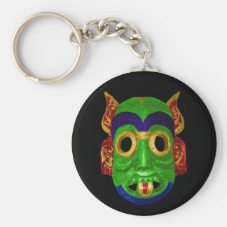 Traditional Colorful Thai Mask Basic Round Button Keychain