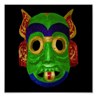 Traditional Colourful Thai Mask Poster
