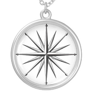 Traditional Compass Sterling Silver Necklace Black