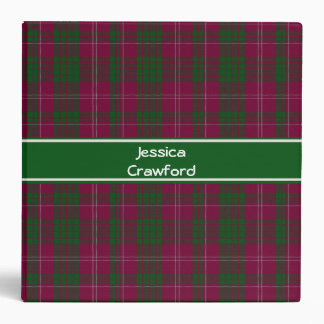 Traditional Custom Crawford Tartan Plaid Binder