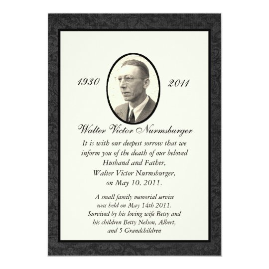 Traditional Death Announcement Card Zazzle