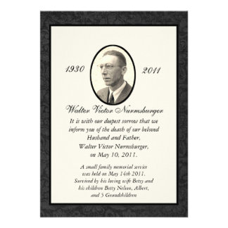 Traditional Death Announcement Card