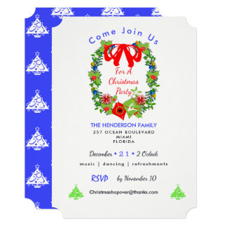 Traditional Decorated Christmas Wreath Invite