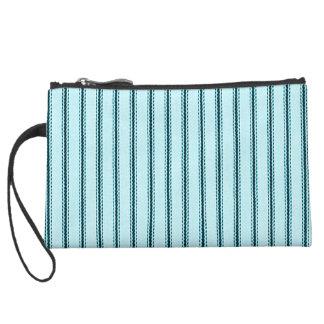 """Traditional Designs"" Pillow Tick Blue Suede Wristlet Wallet"
