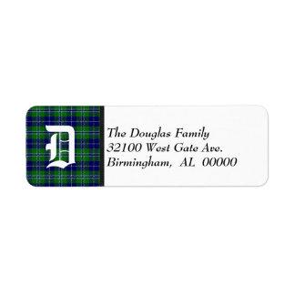 Traditional Douglas Tartan Plaid Monogram Return Address Label