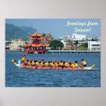 Traditional Dragon Boats on the Lotus Lake Posters