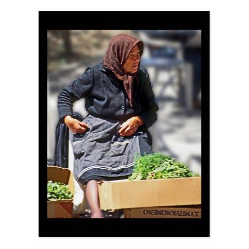 Traditional Dressed Greek Old Woman (2) Postcard