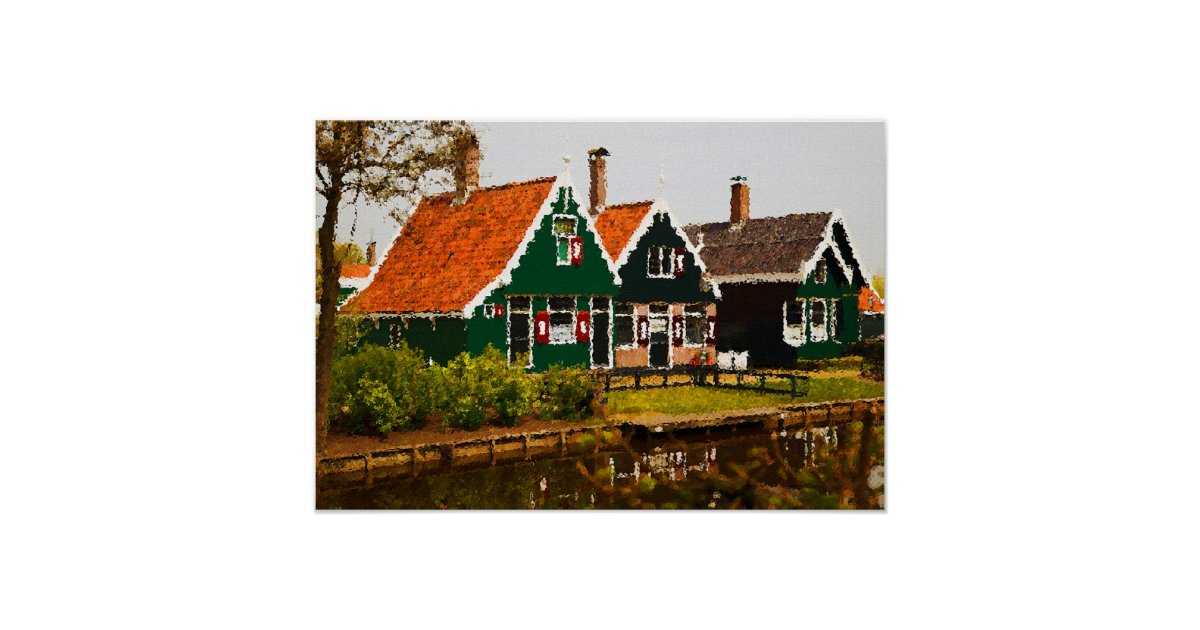 Traditional dutch houses poster zazzle for Classic dutch house of 60m2