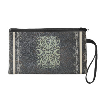 Traditional Elegant Scrolls Antique Leather Look Wristlet Purses