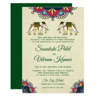 Traditional Elephants Indian Wedding Invitation
