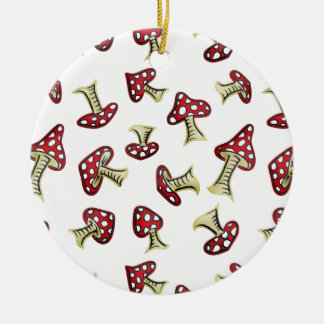 Traditional Fairy Toadstool Pattern Ceramic Ornament