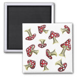 Traditional Fairy Toadstool Pattern 2 Inch Square Magnet