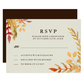 Traditional Fall Wedding RSVP Card