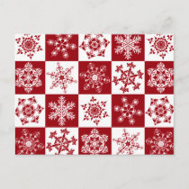 Traditional Family Christmas Red Snowflake Pattern Holiday Postcard